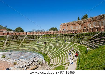 ancient greek theatre in Taormina, Italy