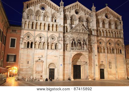 Duomo of Ferrara at night