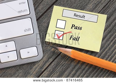 result showing failure