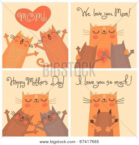 Sweet cards for Mothers Day with cats.
