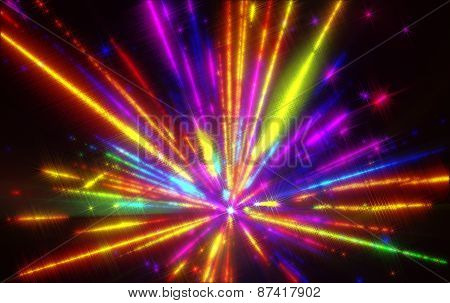 Shining a fantastic radial blast colorful tint.Fractal art graphics