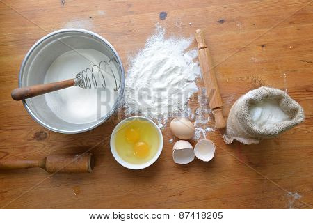Flour On Wooden Background