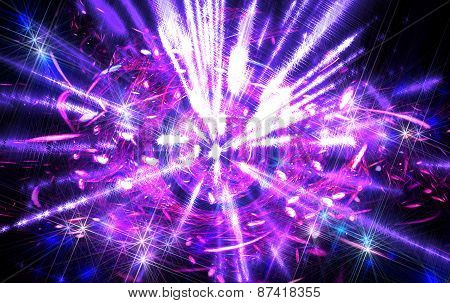 Shining big fantastic radial blast purple tint. Fractal art graphics