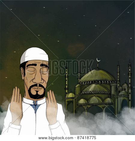 Religious Muslim young man reading namaz (Muslim's Prayer) in front of mosque on cloudy background, concept for Islamic holy month of prayers, Ramadan Kareem.