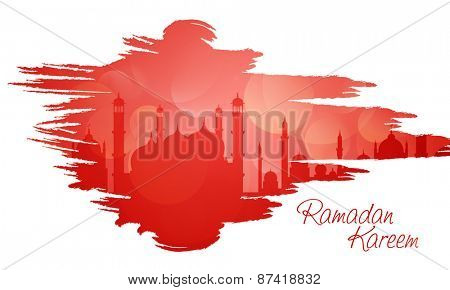 Holy month of muslim community, Ramadan Kareem celebration with illustration of islamic mosque and color splash on white background.