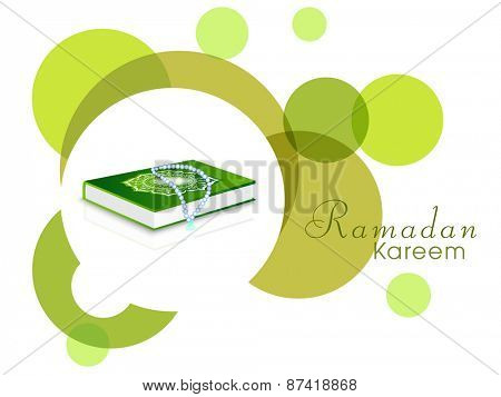 Holy month of muslim community, Ramadan Kareem celebration with islamic book Quran Shareef and Rosary on abstract background.