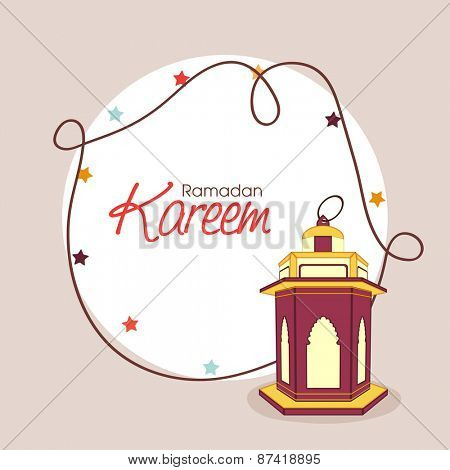 Holy month of muslim community, Ramadan Kareem celebration greeting card with colorful arabic lamp or lantern.