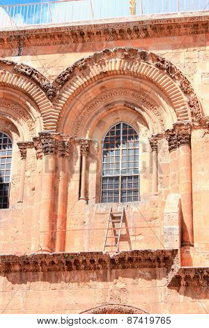 Immovable Ladder on the Church of the Holy Sepulchre in Old City of Jerusalem