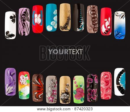 Nail art handmade colorful nails isolated a black background nail art handmade colorful nails isolated a black background poster prinsesfo Image collections