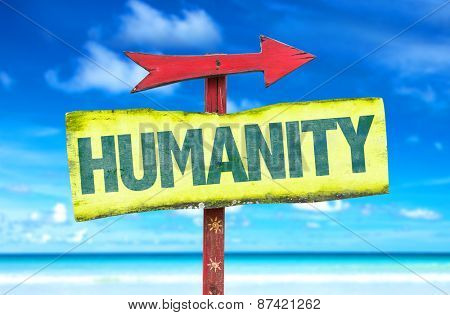 Humanity sign with beach background