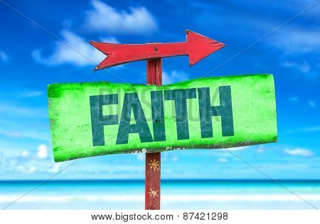 Faith sign with beach background