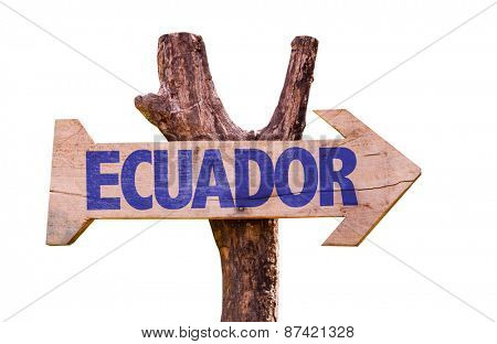 Ecuador wooden sign isolated on white background