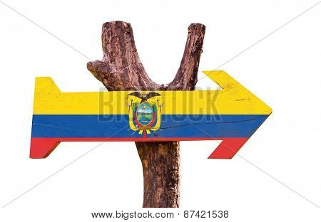 Ecuador Flag wooden sign isolated on white background
