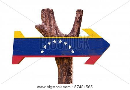 Venezuela Flag wooden sign isolated on white background