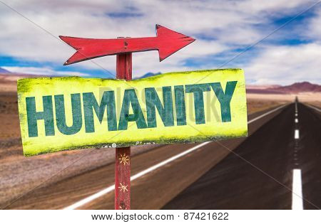 Humanity sign with road background