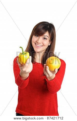 Asian Girl Holding Fruits And Vegetable