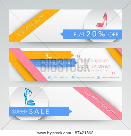 Website header and banner set with discount offers on ladies shoe.