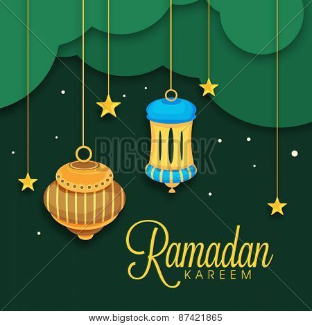 Beautiful greeting or invitation card design decorated with colourful arabic lanterns and golden stars for Islamic holy month of prayers Ramadan Kareem celebrations.