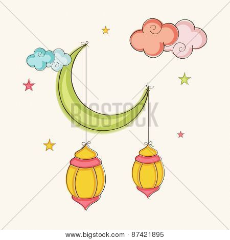 Holy month of muslim community, Ramadan Kareem celebration with colorful arabic lamps hanging by moon.