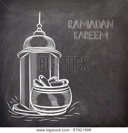 Illustration of arabic intricate lantern and dates on black chalk board background for Islamic holy month of prayers, Ramadan Kareem celebrations.