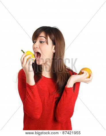 Asian Girl Biting Fruits And Vegetable