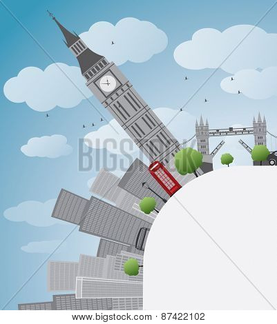 London panorama with big Ben and skyscrapers Vector illustration with place for text