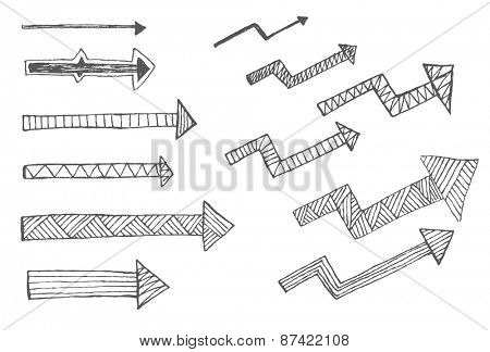Collection of hand drawn arrows on white background Vector illustration