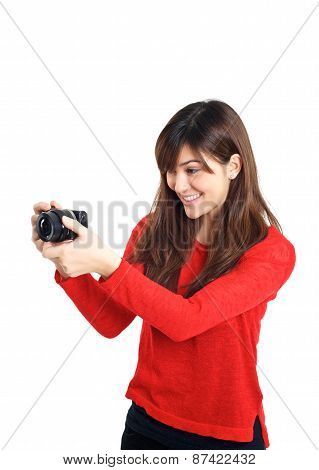 Asian Girl Taking Photo With A Compact Camera