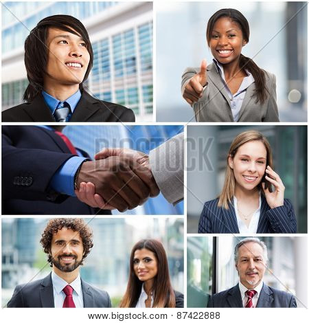 Collage of multiethnic business people