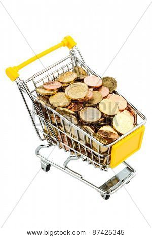 a shopping cart filled with euro coins, symbolic photo for purchasing power, inflation, consumption