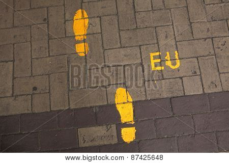 Footsteps to the European Union. Direction sign in the EU headquarter in Brussels, Belgium.