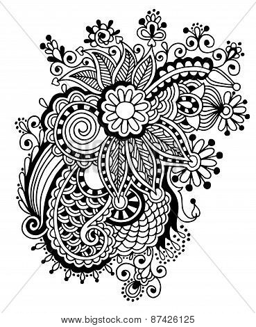 Hand draw black and white line art ornate flower design.