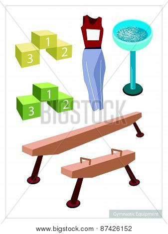 Artistic Gymnastic Equipments On A White Background