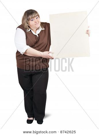 Girl  Holds Empty Poster