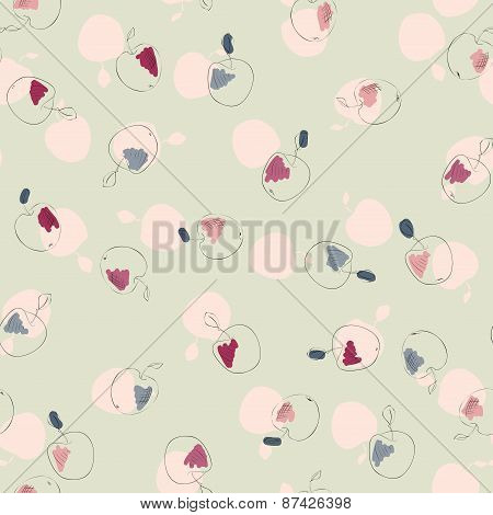 appetizing apples Seamless pattern. food vector background