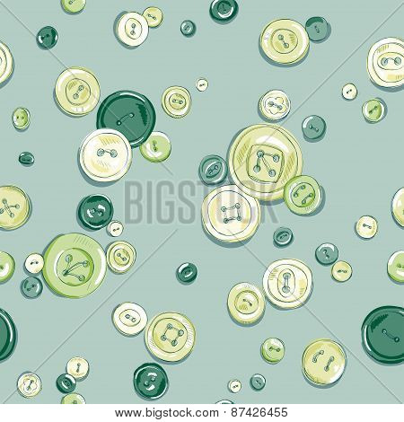 hand drawn colorful buttons seamless pattern.