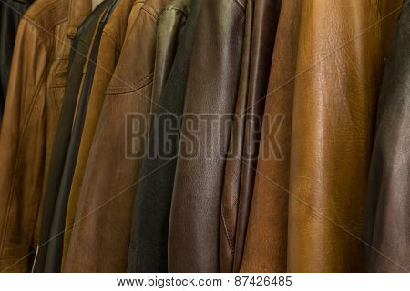 Hanging A Lot Of Leather Jackets