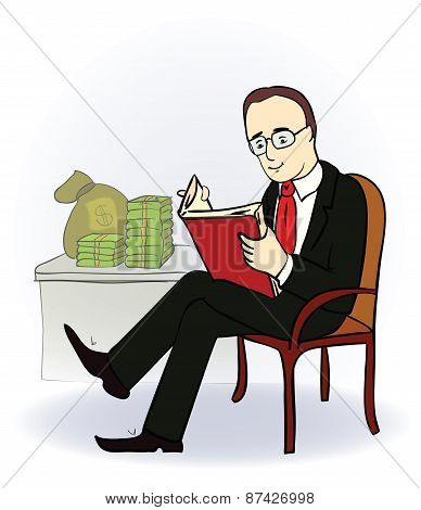 businessman with a book near the table with money. Vector illustration