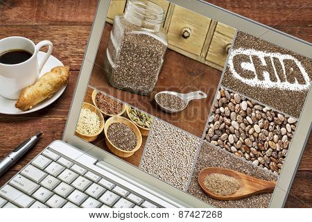 reviewing pictures of healthy chia seeds - image collage on laptop with a cup of coffee