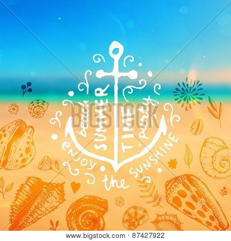 Set of Summer Elements: Blurred Beach Landscape, Seashells, Flowers, Anchor, Sky with Sun. Hand Drawn Style. Typographic Design for Logo or Label. Summer Holidays.