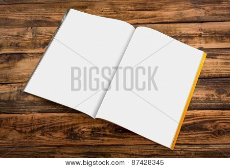 Blank catalog, magazines,book mock up on wood background ( with 2 layer clipping path : Right page,left page)