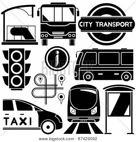 silhouette bus, train and traffic sign