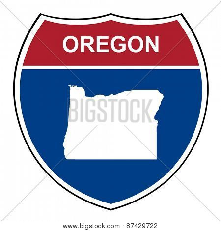 Oregon American interstate highway road shield isolated on a white background.