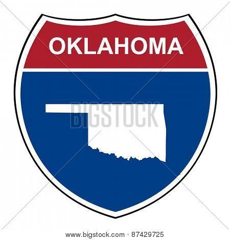Oklahoma interstate highway road shield isolated on a white background.