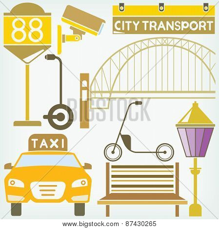 taxi and traffic sign