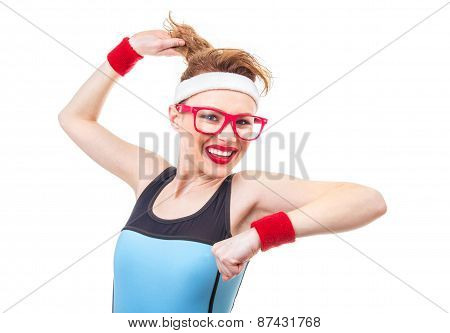 Joyfull Young Fitness Woman, Isolated On White