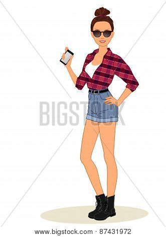 Casual hipster girl  shows mobile phone
