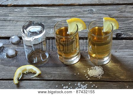 Glasses Of Tequila With Lemon And Salt