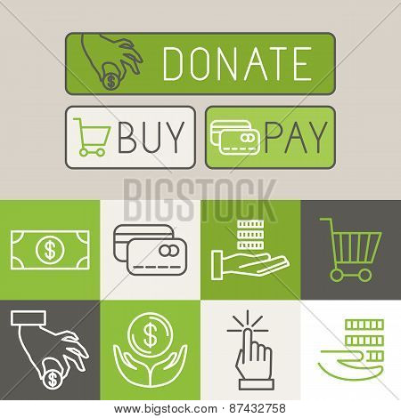 Vector Payment Buttons In Trendy Linear Style