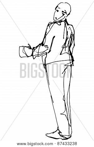 Vector Sketch Of A Man Looking Back Over His Shoulder